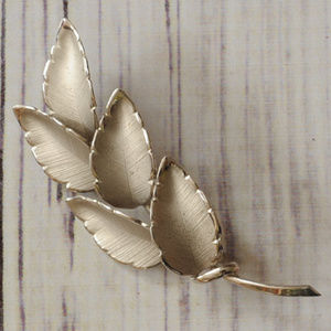 925 sterling silver leaf leaves brooch pin